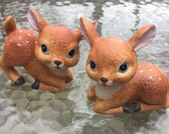 CIJ Homco Deer Figurines Fawns  # 1473 1970s Pair Hand Painted Collectibles Pristine Condition