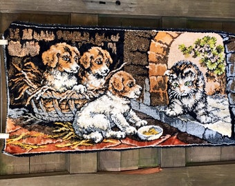 Vintage Midcentury Puppies with Kitten Velvet Tapestry