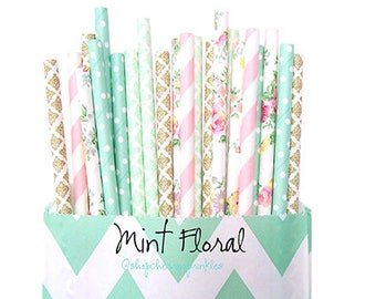 Mint Floral paper straws -Gold wedding decor, Pink and Mint -  Pink flower straws, Rustic Wedding, Tea Party, Vintage Floral party Straws