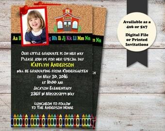 Kindergarten GRADUATION, Pre School Graduation, Graduation Announcement, Photo Graduation, Graduation Open House, Printed or Digital File