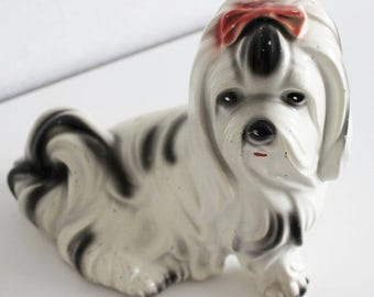 1950s Kitsch Dog Statue, Vintage Dog Figurine Yorkshire Terrier Dog Lover Gift Quirky Home Decor Dog Statue Plaster Sculpture Kitschy - B473