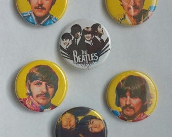 "Lot of 6 1.25"" Handmade Pinback / Fridge Magnet / Flatback Buttons The Beatles (1.25 inch, Aprox. 32mm)"