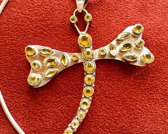 "Citrine Sterling Dragonfly Pendant Paired with an 18"" 925 Silver Snake Chain Large Vintage Golden Natural Gemstones Dragonfly 925 Necklace"