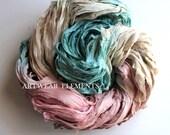 Sari Silk, Muted Vanity Mix, Fair Trade, 5 Yards, Textile, Yarn, Art Yarn, Crochet Yarn, Bracelet Ribbon, Silk Fabric, Artwear Elements, KK
