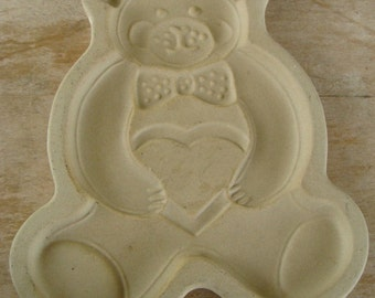 Vintage Stoneware Art Pottery Teddy Bear Shortbread Cookie Mold Holiday Christmas Ornament Family Heritage USA For The Pampered Chef