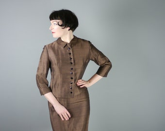 60s SUSAN SMALL suit in brown - wrap over PENCIL skirt and fitted jacket with loads of buttons - Mid Century skirt suit - S