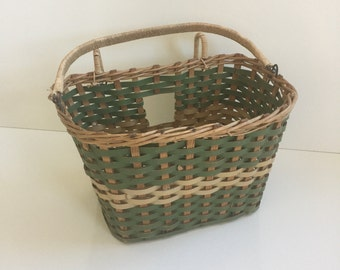 Vintage Wooden Bicycle Basket from the Fifties