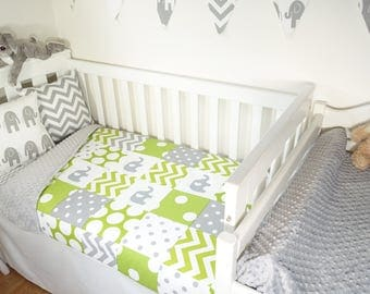 Patchwork quilt nursery set - Lime, navy and grey elephants, spots and chevron (Grey minky quilt backing)