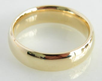 14K Yellow Gold Comfort Fit Wedding Band 6mm
