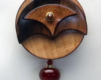 Lathe-turned Wood Brooch with Handmade Glass Bead