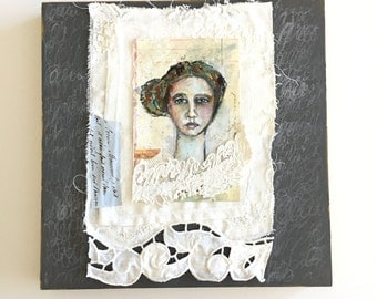 Original Mixed Media Portrait on Vintage Ledger Paper and Vintage Linens and Vintage Lace, 10x10, ready to hang art, shabby chic decor