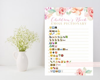 Floral Baby shower game, Children's Book Emoji Pictionary printable, floral watercolor, downloadable shower game, INSTANT DOWNLOAD 003