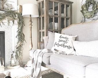 Home Sweet Farmhouse Pillow Cover - Farmhouse Pillow, Natural Pillow, Farmhouse Style, 16 x 16, 18 x 18