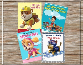 INSTANT DOWNLOAD - Printable Paw Patrol Valentine Cards - set of 4