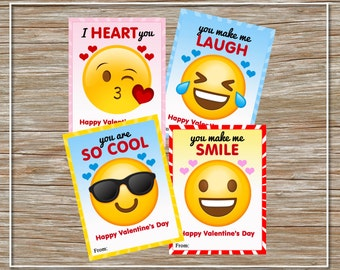 INSTANT DOWNLOAD - Printable Emoji Valentine Cards - set of 4