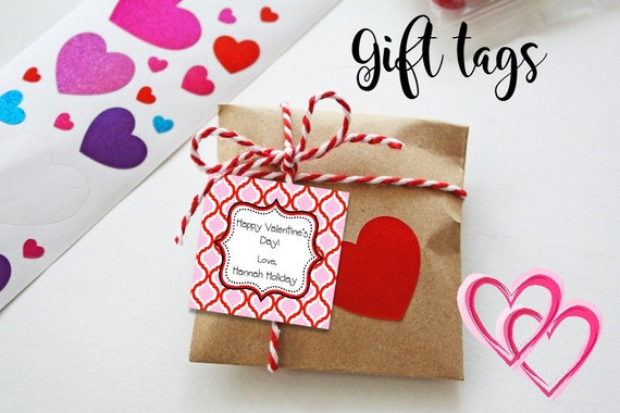 Valentine Cards - Printable - Valentine's Tags - Moroccan Print - Pink - Red - Gift Tags