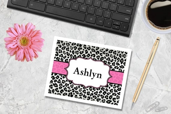 Leopard Note Cards - Cheetah Print - Leopard Print - Note Cards - Customized Note Cards - Personalized Note Cards, Thank You Notes
