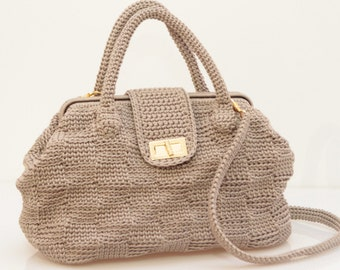 Handbag//////beige Cord Doctor bag crochet bag//Made in Italy//crochet bag