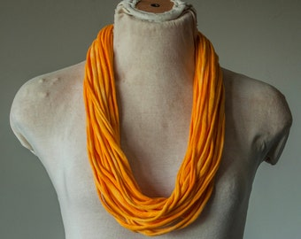 Recycled T-Shirt Necklace Yellow Tie Dye
