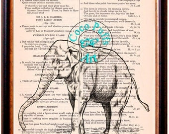 Elephant Standing Outline Drawing Art Beautifully Upcycled Vintage Dictionary Page Book Art Print