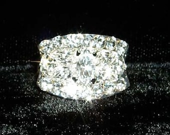 Style # 13101 Fancy Block Adjustable Rhinestone Ring