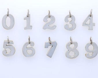 925 Sterling Silver & Brass Number Charms, Hand Crafted, Choice of Number