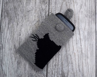 Knitted phone case Gift Black Cat design iPhone cozy Grey cell phone cover Smartphone sleeve Device Purse Mobile phone Protection Pouch