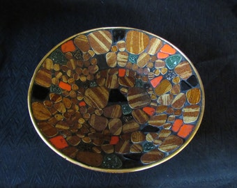 "Vintage Mid-Century Mosaic Bowl Earth Tones Abstract Ceramic Tiles Aluminum Base 10"" Retro MCM"