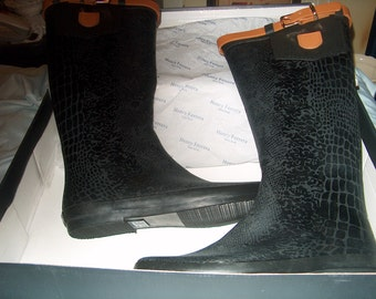 Henry Ferrera, Black Boots in Box, Size 10, Rain Boots, Leather Top, New York