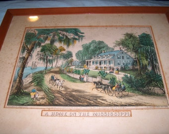 Antique Currier & Ives Original  Lithograph Print, Home on the Mississippi, Southern Comfort,  WAS 300.00 - 50% = 150.00