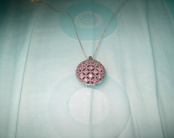 Vintage Sterling Silver Necklace w/ Pink Ruby Stones, Marked Snooki on back, Fine Jewelry