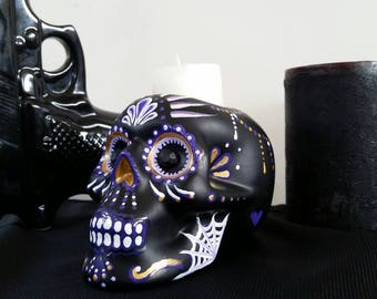 Hand painted dia de los muertos skull candle holder purple, lialic and gold