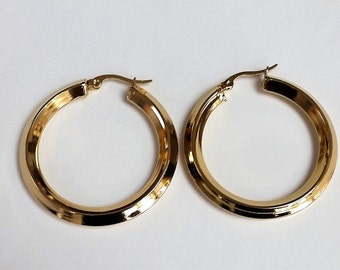 Stainless Steel Hoop Earring, gold color plated