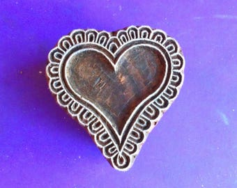 Heart Hand Carved Textile Clay Fabric Pottery Henna Wood Stamp Indian Printing Block