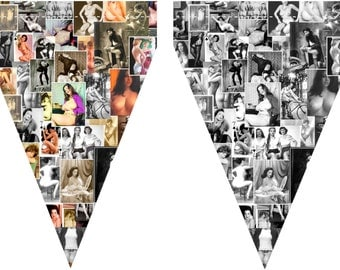 Nude photos vintage ladies pictures bunting 4 seperate styles A4 page size download 4 x jpg just 99p