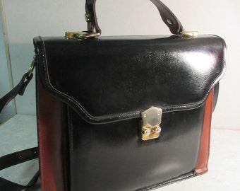 Vintage 1980's Black & Brown Leather Satchel Style Handbag - Lovely!!