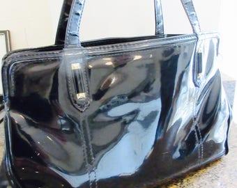 Vintage 1960's Black Very Shiny PVC Handbag 'Japelle, Made By 'Shilton' Jane Shilton - Cute!!