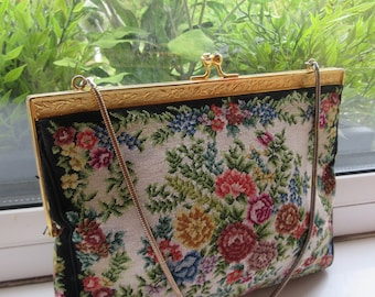 BEAUTIFUL Vintage 1950's Tapestry Handbag - Cute!!