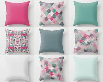 Outdoor Pillows, Pink Green Mint Teal, Outdoor Home Decor, Outdoor Throw Pillows