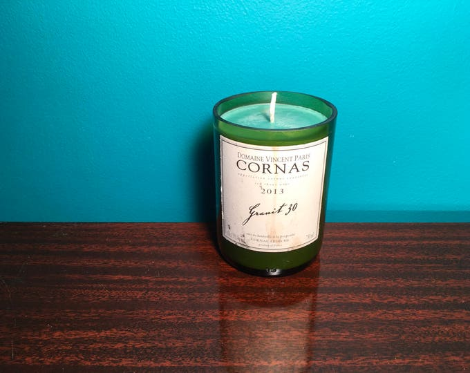 Cornas Red Rhone bottle with a Sweet Basil Bergamot Soy candle