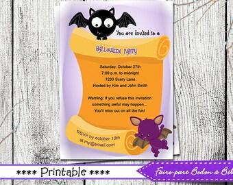 Halloween invitation - Halloween party invitation - halloween card - halloween printable - Digital printable