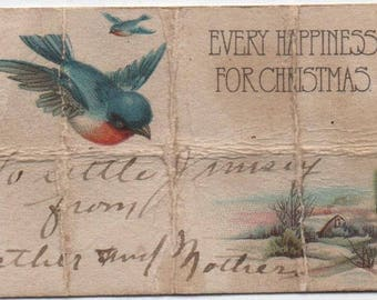 Christmas Gift Tag c1920, artful, but creased, Every Happiness For Christmas, To Little Jimsey From Father and Mother