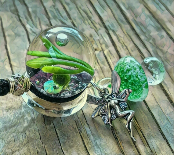 marimo moss necklace live plant by aquatherapyjewelry