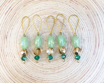 Green and Gold Stitch markers- Stitch Market Set - Stitch Markers for Knitting -Knitting Gift - Knitting Notions