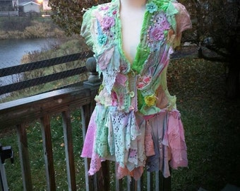 Pink Sunshine Shabby reworked Altered wearable fiber art to wear jacket top shrug textile tattered lace.