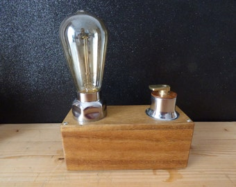 wood  and stainless steel lamp