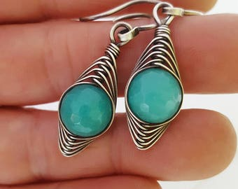 Teal green jade earrings silver jade earrings wire wrap earrings jade gemstone jewelry, wire wrapped jewelry sterling silver earrings