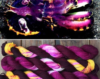Flamboyant Cuttlefish 20g Mini Skein merino nylon platinum sock yarn