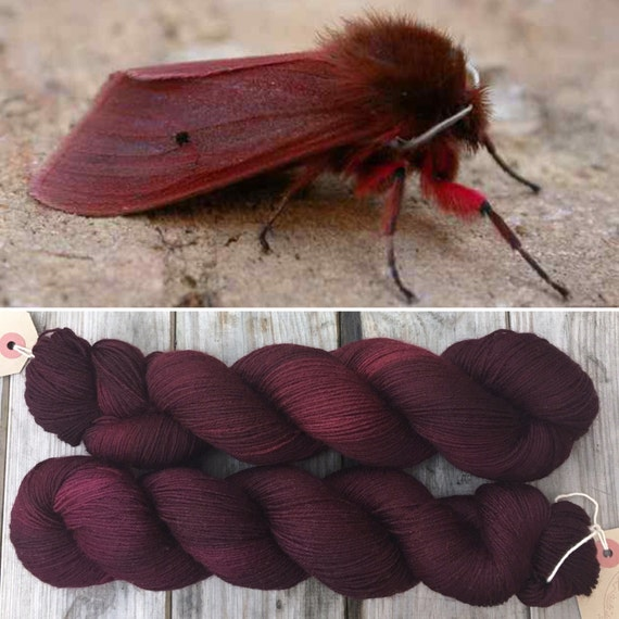 Ruby Tiger Moth, merino nylon blend indie dyed sock yarn
