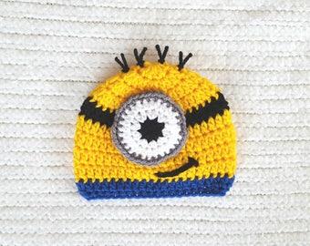 Minion baby hat, minion hat, baby boy gift,  minion newborn hat, baby hats for boys, 0-3 month baby gift, newborn photo prop, preemie